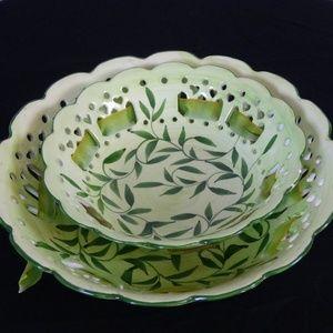Handpainted Ceramic Pierced bowls w/silk ribbons